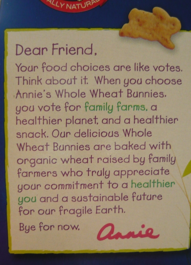Annie's Cracker package message