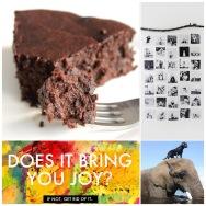 Fab Friday - grain free Choc cake, photo display idea, does it spark joy, animal friends - elephant & dog