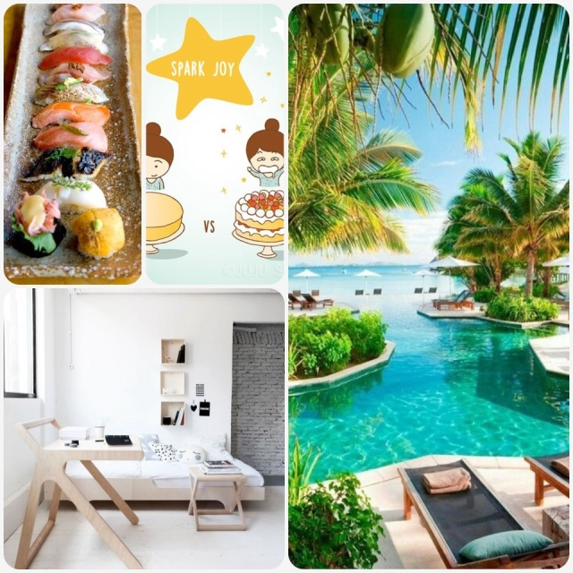 Fab Friday - sushi variety, spark joy cartoon, likuliku resort Fiji, modern minimal home