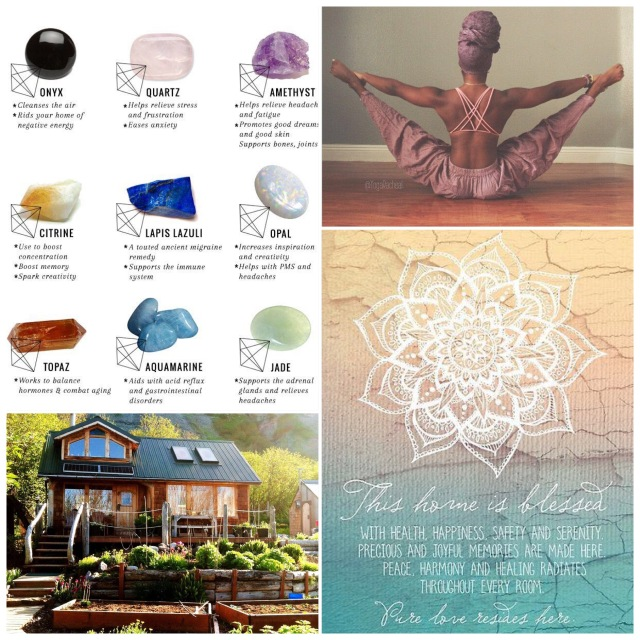 Fab Friday - healing crystals, yoga pose, rustic homesteading, home blessing verse
