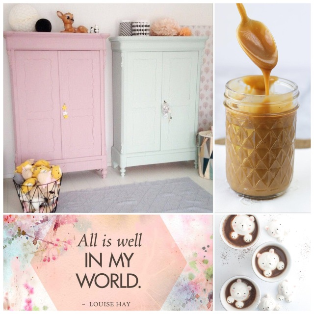 Fab Friday - pastel wardrobes, Paleo caramel, all is well in my world - louise hay, bear marshmallows