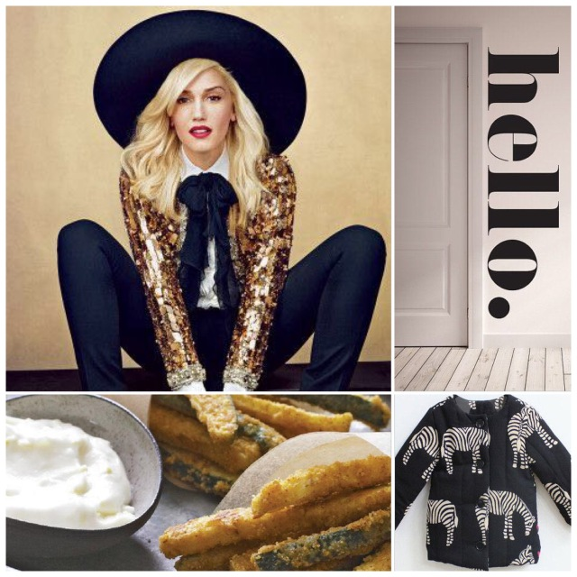 Fab Friday - Gwen Stefani, hello wall decal, zebra coat for kids, zucchini chips