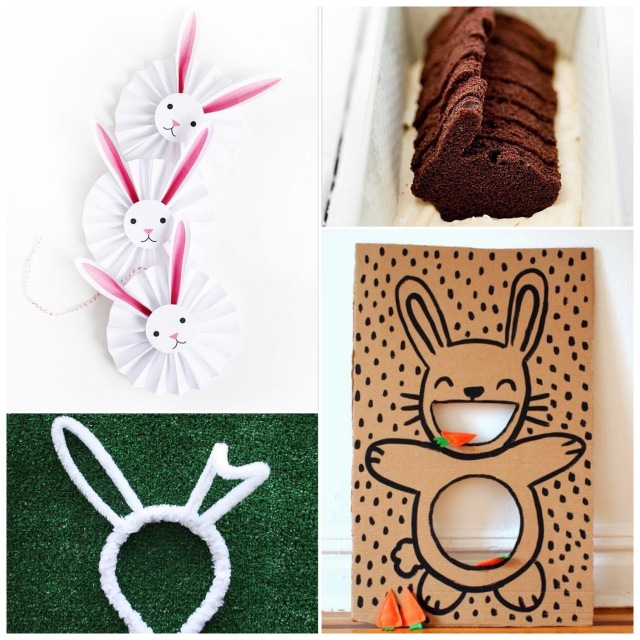 Fab Friday - Easter edition. Bunny decorations, bunny headband, bunny cake, bunny game