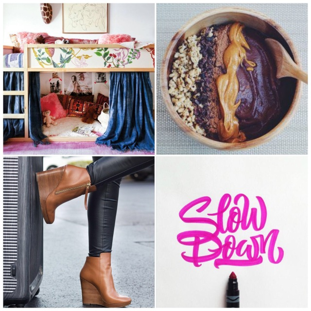 Fab Friday - ikea kura floral, smoothie bowl, brown wedge ankle boots, slow down typography