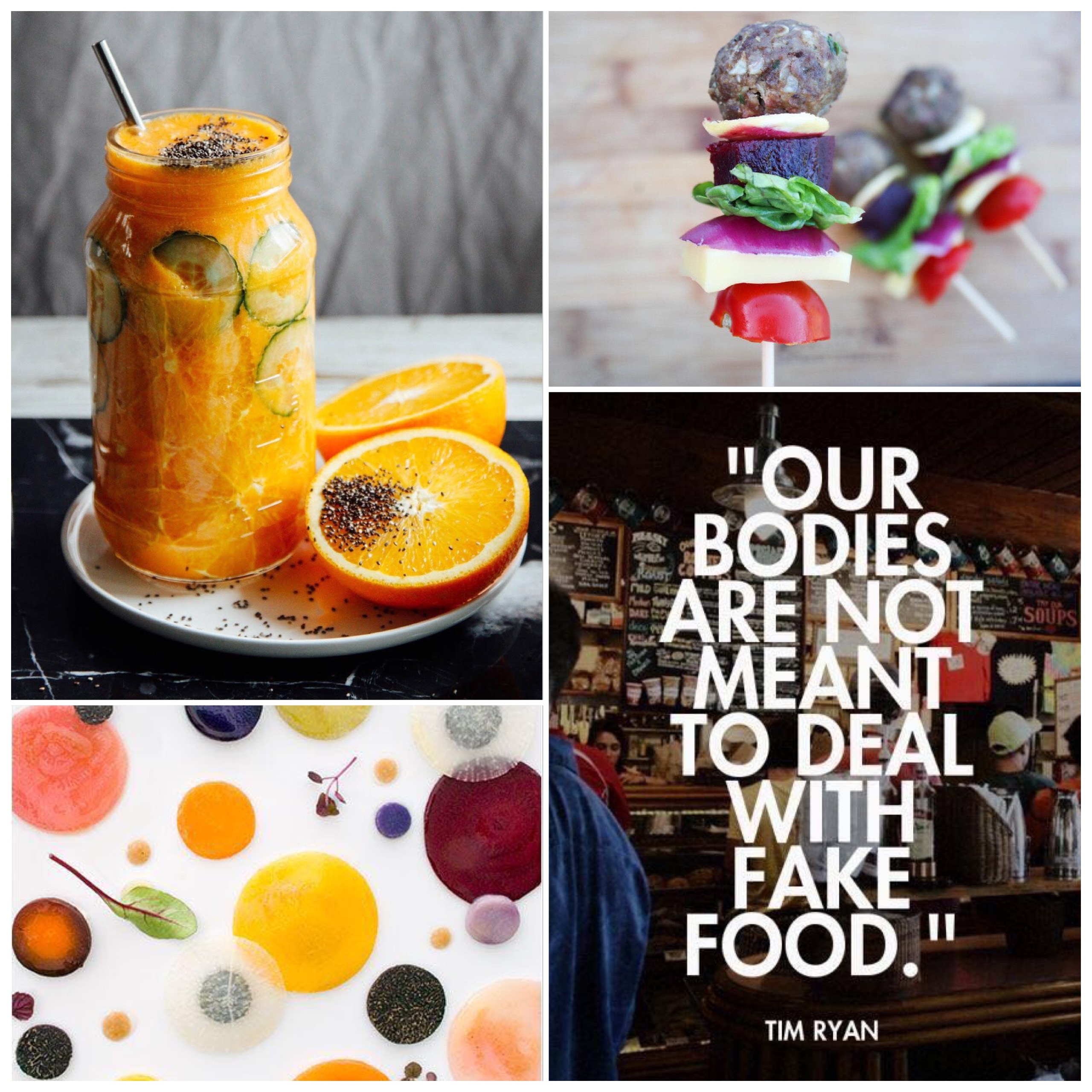 Fab Friday - macadamia milk, coconut, pineapple juice, burger on a stick no bun, food art, fake food quote