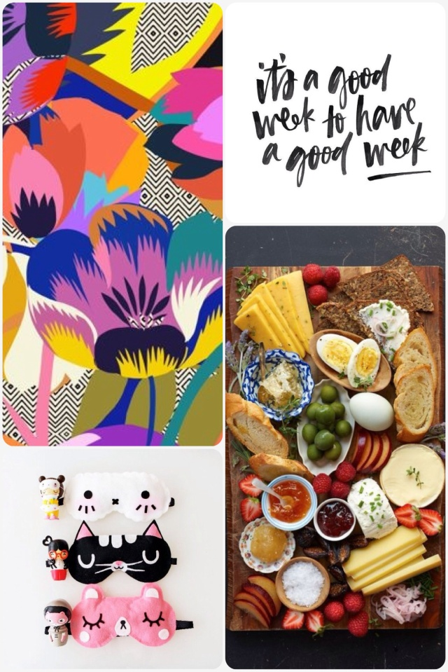 Flower pattern, it's a good week quote, breakfast board, kawaii sleeping mask