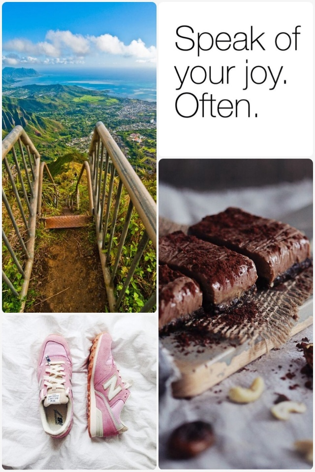 Fab Friday - Raw almond butter slice, speak of your joy often - truthbomb, new balance pink sneakers, view from too of the world