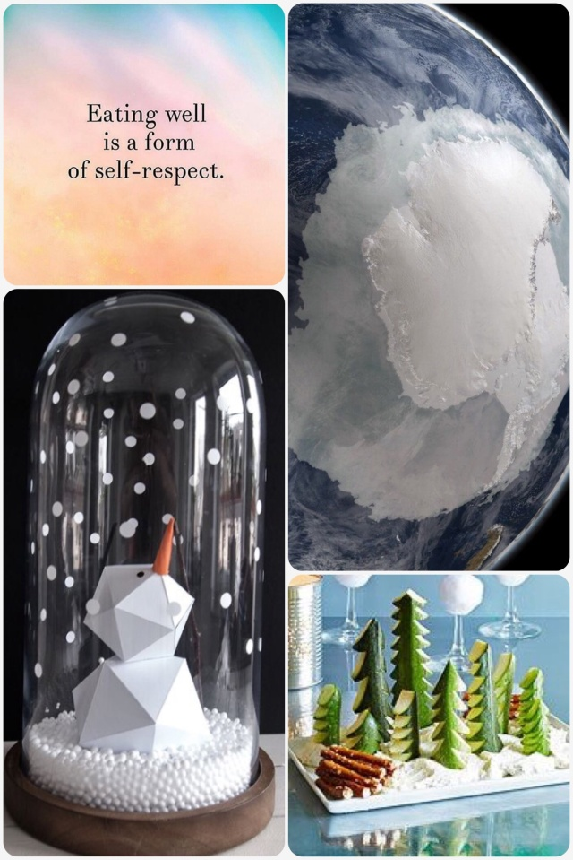 Fab Friday - positive quote, Antarctica, snow globe, winter scene snack plate
