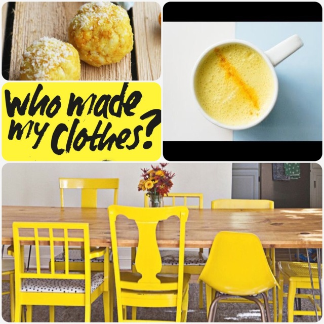 Fab Friday - coconut Tumeric balls, golden milk for abundance, who made my clothes?, yellow chairs
