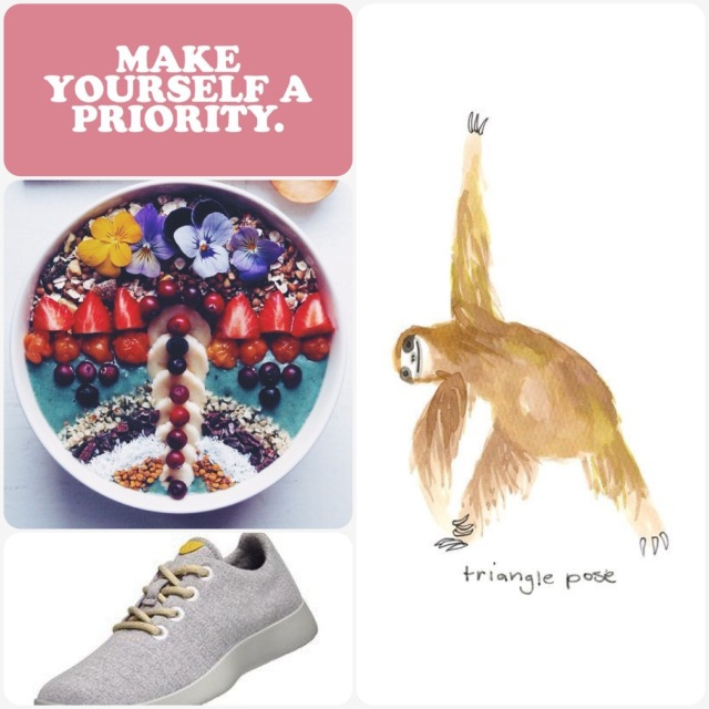 Fab Friday - make yourself a priority, smoothie bowl, sloth yoga, wool sneakers