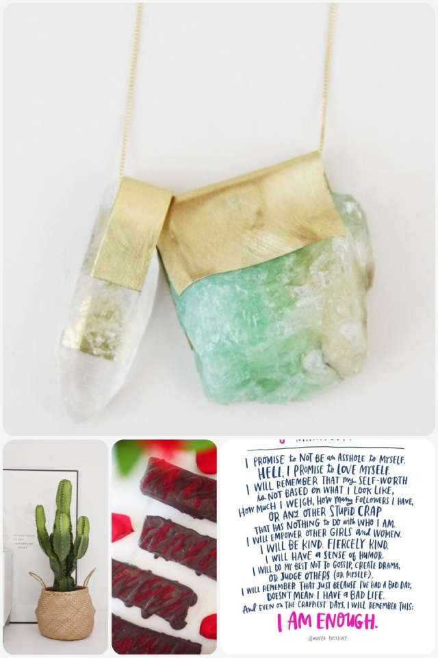 Fab Friday - crystal necklace, cactus in basket, real food Turkish delight, girl power manifesto