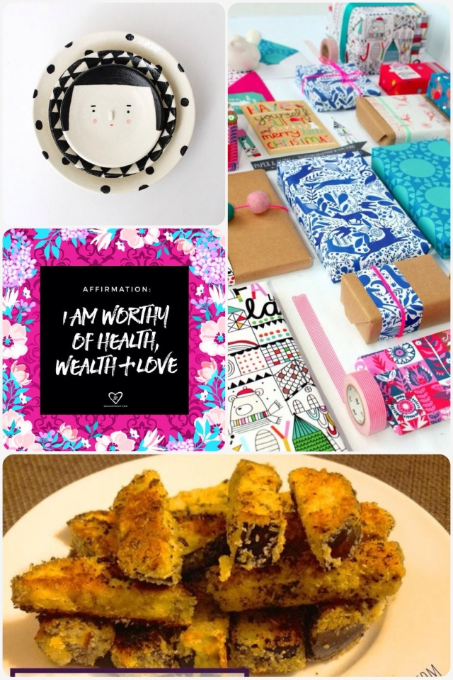 Fab Friday - cute plates, packaging, quote, eggplant chips
