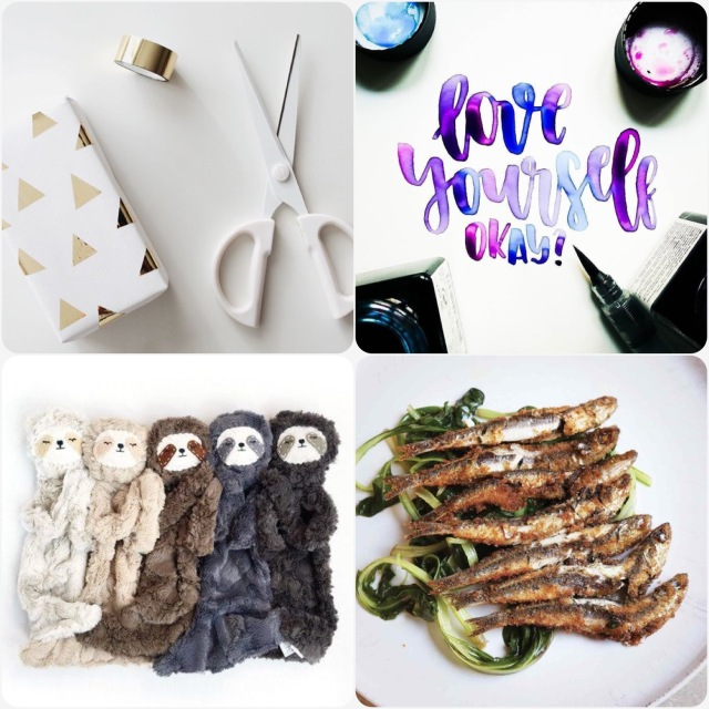 Fab Friday - wrapping, love yourself quote/ typography, sloth cuddly, anchovies