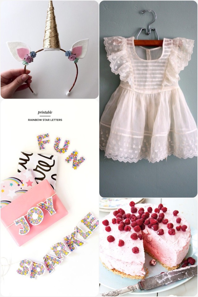 Fab Friday - birthday inspired. Unicorn headband, party dress, cloud cake, printable rainbow star letters