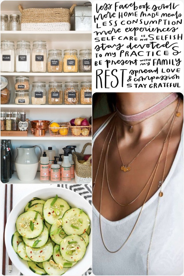 Fab Friday - goals, necklace layering, Thai cucumber salad, pantry zero waste