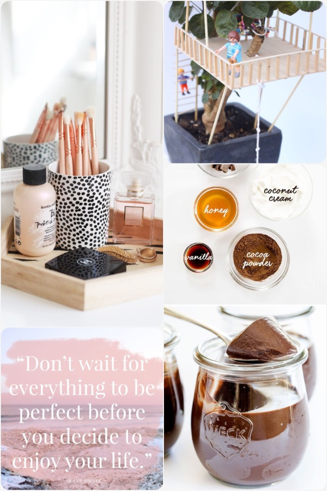Fab Friday - dresser styling, mini toy treehouse, Paleo chocolate mousse, perfection quote ,