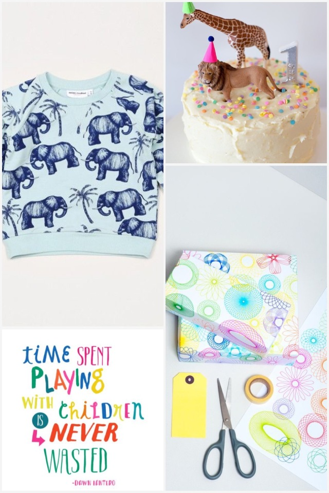 Fab Friday - Birthday inspired. Elephant 🐘 jersey, animal cake, spirograph wrapping, playing with children isn't a waste of time ever quote