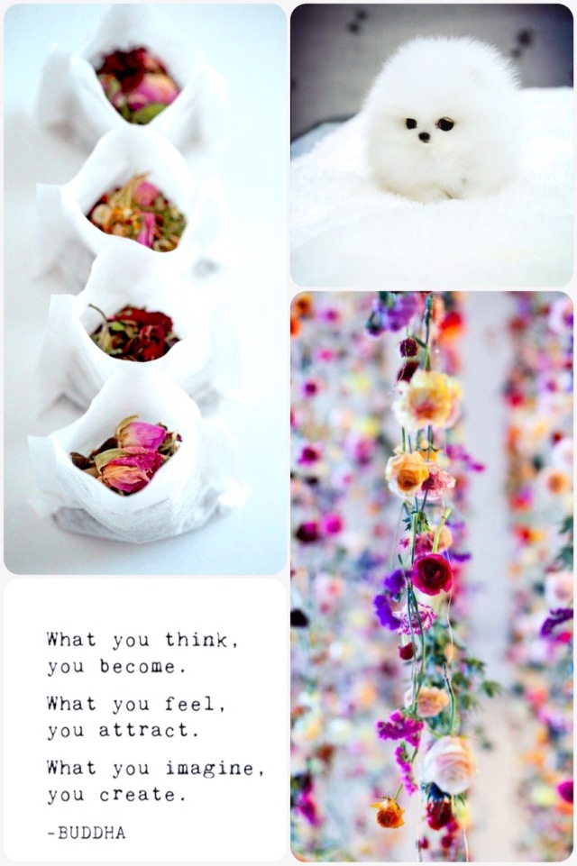 Fab Friday -make your own tea bags, teacup puppy, buddha quote, flower garland curtain decoration
