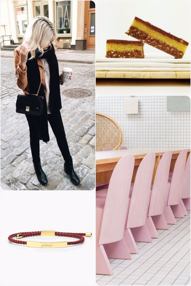 Fab Friday - winter fashion, Jaffa slice, florist pale pink chairs, gratitude bracelet
