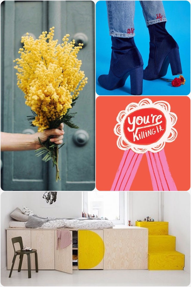 Yellow bunch of flowers, you're killing it rosette, children's room with plywood and yellow cupboard bunk, blue velvet boots with chunky heel, as if words stitched on to the bottom of the back of the jean leg.