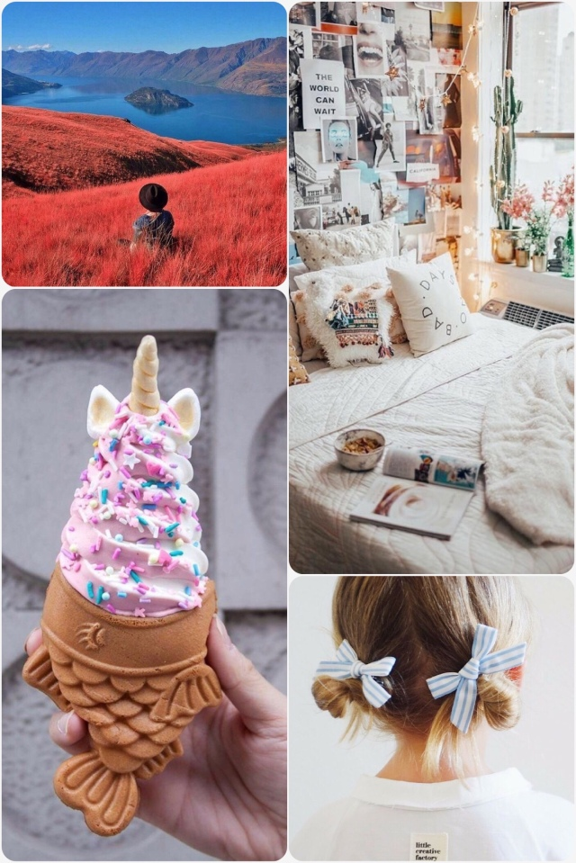 Fab Friday - Wanaka New Zealand scenery, Pretty mermaid ice cream with fish shaped cone - Japan, Girls hairstyle with bows, Apartment bedroom decorated with photo wall, fairy lights & flowers.