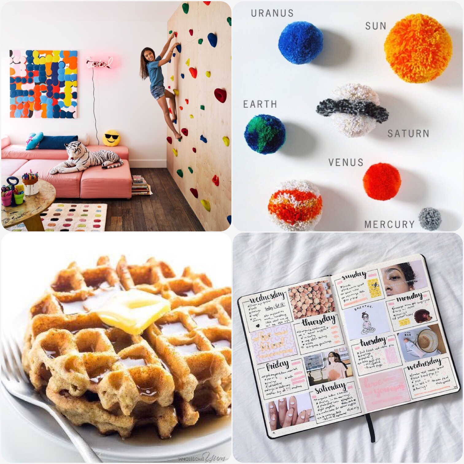 Fab Friday - kids room with climbing wall, Pom Pom solar system craft, almond waffles, bullet journal inspiration